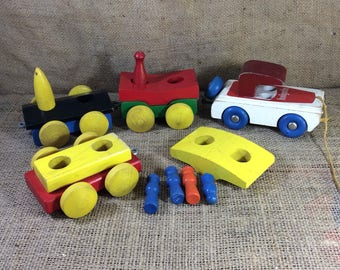 Holgate wooden car train, vintage holgate pull toy, old wooden pull toy with attachments, 1950's toys, vintage Holgate collectibles, toys