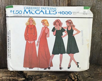 Vintage McCalls 4836, 1975 Carefree patterns by McCalls, dress and unlined jacket sewing pattern, size 10 pattern, 1970's long dress pattern