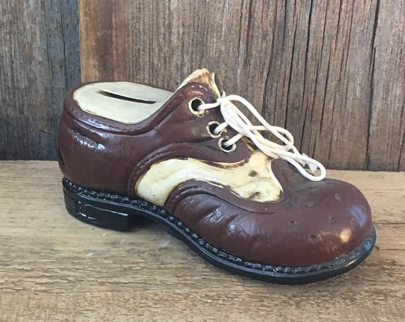 Vintage brown and white oxford shoe piggy bank made in Japan Counterpoint, San Francisco, Mid Century novelty piggy bank, 1950's piggy bank