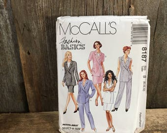 McCalls 8187, uncut sewing pattern from 1996, Fashion Basics pattern, lined jacket, skirt and pants pattern, uncut vintage sewing pattern