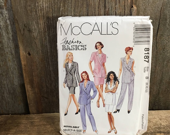McCalls 8187, uncut sewing pattern from 1996, Fashion Basics pattern, lined jacket, skirt and pants pattern, uncut vintage sewing pattern