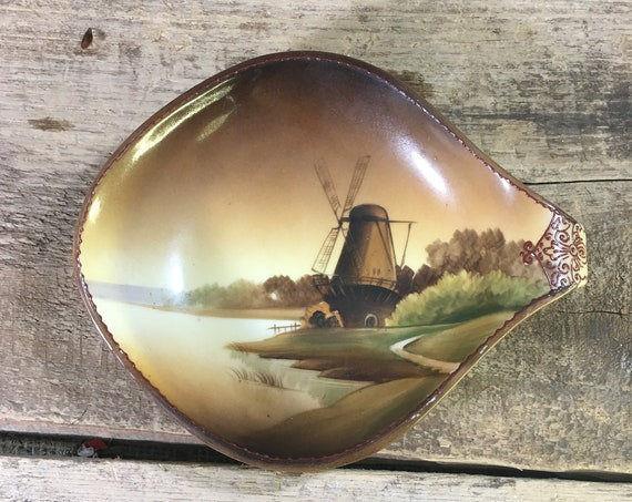 Vintage hand painted Nippon serving bowl from early to mid century, beautiful windmill designed hand painted Nippon,