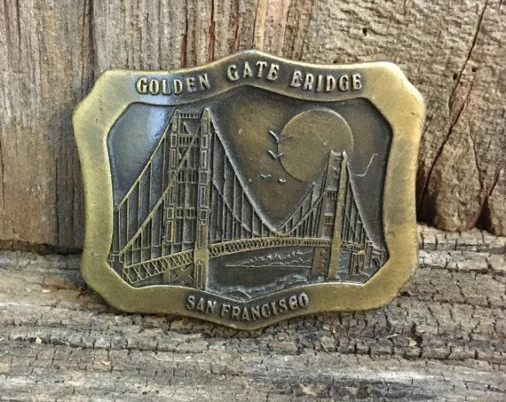 Cool 1977 Indiana Metal Craft belt buckle, Golden Gate Bridge Belt Buckle,California Souvenir buckle,1970's belt buckle,San Francisco buckle