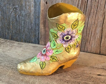 Vintage Paper Mache boot Folk art from Mexico, Mexican folk art, Vintage folk art, hand painted floral boot, paper mache boot with flowers