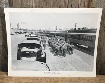 Soldiers on the move photo, soldiers boarding a train, vintage black and white soldier photo,soldier & train photo,mid century soldier photo