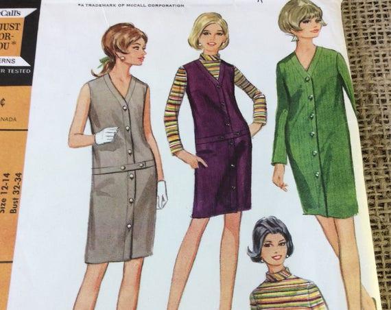 Vintage uncut McCalls dress pattern from 1967, McCalls 8929 uncut pattern, dress, jumper, blouse, 1960's sewing pattern