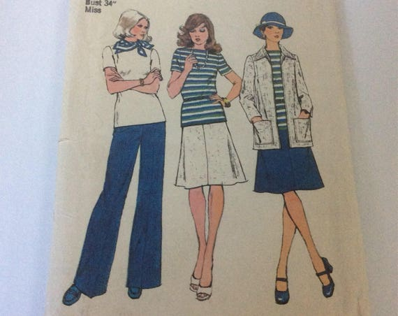 Vintage Simplicity pattern 6222, uncut misses topper, top, skirt and pants, vintage sewing pattern from 1974