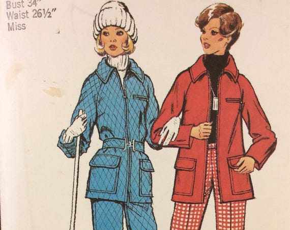Vintage Simplicity snow jacket and pants, Simplicity 5985 ski pants and jacket, vintage Simplicity, 1973 sewing pattern, 2.00 US shipping