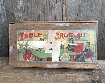 Vintage Table Croquet, unique table game or game decor, Victorian style game, inside game, vintage Milton Bradley table top game