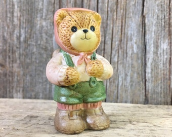Vintage Lucy Rigg bear, 1880's Lucy Rigg figurine, Enesco bear, Lucy Rigg hiker bear, bear hiker, Lucy Rigg hiking bear, hikers gift