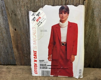Vintage McCalls Stitch N Save pattern, McCalls 2678, McCalls jacket and skirt sewing pattern, 1980's sewing pattern, unlined jacket pattern