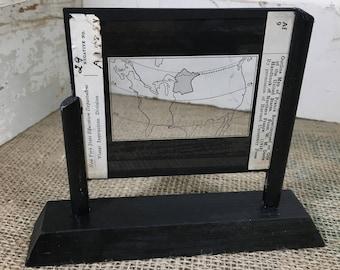 Vintage lantern slide of outline map of France superimposed on one of the United States, vintage pictures, vintage photos, unique decor