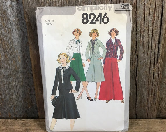 Vintage Simplicity 8246 pattern from 1977, pattern size 14,Free US Shipping,Juniors & misses blouse, unlined jacket and skirt in two lengths