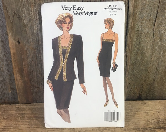 Very Easy Very Vogue pattern 8512, Butterick 8512, uncut sewing pattern, evening dress and jacket, vintage uncut sewing pattern