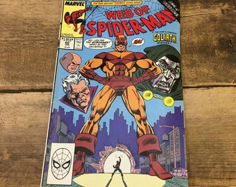 Web of Spiderman, vintage comic book, vintage Marvel Comics, Web of Spider-Man, Spiderman comic book, volume 1 no 60 from 1990, Spiderman