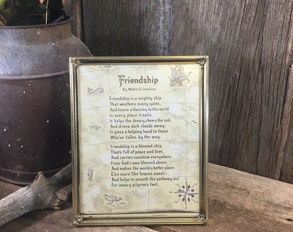 Vintage gold picture frame with vintage Friendship poem, super friend gift, friendship poem in vintage frame, 8 x 10 vintage gold frame