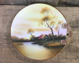 Vintage Noritake hand painted serving plate with beautiful handle, 1920's Noritake made in Japan M with a wreath, early Noritake small plate