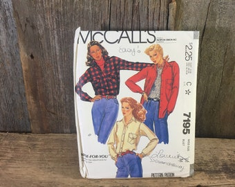 Vintage McCalls pattern 7195 from 1980, McCalls shirt and shirt jacket pattern, McCalls sewing pattern from 1980, vintage shirt jacket