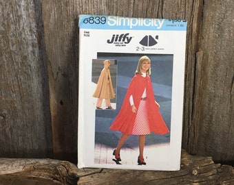 Vintage uncut Simplicity Jiffy Patter, Simplicity 6839, Simplicity Jiffy pattern, free shipping, pattern from 1975, unlined caped pattern