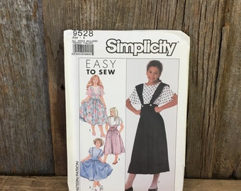 Vintage Simplicity 9528 sewing pattern, 1989 sewing pattern, girls sewing pattern, girls suspender skirts and pullover top, vintage girls