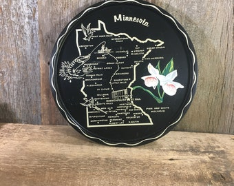 Vintage State of Minnesota serving tray, vintage serving tray, Minnesota decor, Minnesota memorabilia, tray collector, state tray,