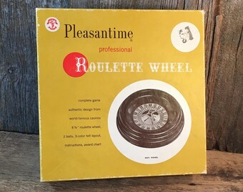 Pleasantime professional Roulette Wheel from 1958, 1958 Roulette Wheel and felt, mid century game, man cave decor, man cave games, casino