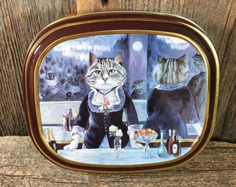 Bentley's of London The Cats Gallery The bar of the Folies-Bergere tin, 1990 Thames & Hudson, vintage cat tin, cat collectible, cat lover