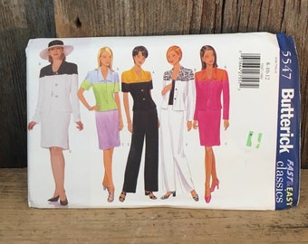 Vintage uncut Butterick 5547 sewing pattern, size 8-12 jacket, skirt and pants sewing pattern, Butterick pattern from 1998, uncut pattern