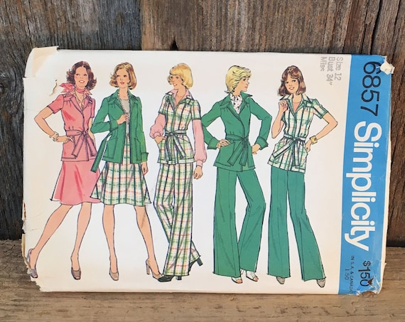 Simplicity pattern 6857 size 12, vintage Simplicity sewing pattern, wrapped jacket skirt and pants pattern, 1974 sewing pattern, 70's outfit