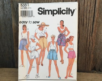 Vintage Simplicity 8381 easy to sew pattern, cute shorts sewing pattern, 1990's style shorts sewing pattern, large and extra large pattern