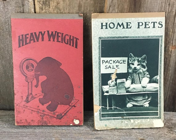 Vintage notepads, vintage pad of paper, vintage paper, notepad with elephant, notepad with cat, vintage heavy weight notepad,home pets paper