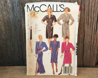 Vintage McCalls pattern 9268, Uncut McCalls 9268, Misses coat dress sewing pattern from 1984, 1984 uncut McCalls coat dress sewing pattern