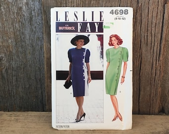 Vintage Butterick 4698, uncut Butterick 4698 Leslie Fay for Butterick sewing pattern for dress,size 8-12 sewing pattern Leslie Fay Butterick
