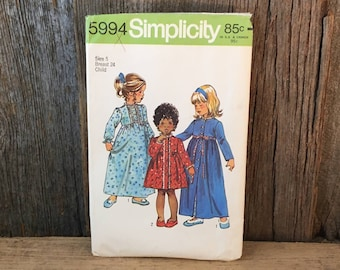 Vintage Simplicity 5994, childrens size 5 pattern, vintage pattern for childs robe and nightgown, vintage little girls sewing pattern
