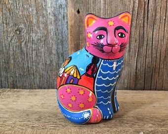 Vintage colorful clay cat Folk art from Mexico,Mexican folk art,Vintage folk art,hand painted pink scenic cat figurine, Mexican cat folk art