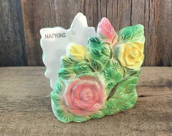 Mid Century Ucagco Ceramics Japan napkin holder, vintage floral napkin holder, 1950's ceramic flowered napkin holder, vintage dining decor