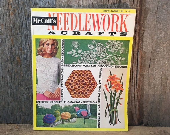 McCalls Needlework and crafts magazine, 1972 McCalls magazine, spring and summer 1970's McCalls Needlework magazine, batik lesson, crafts
