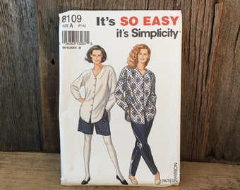 Vintage Simplicity 8109, uncut It's so easy it's Simplicity pattern, 1992 uncut sewing pattern,petite to extra large pattern, tunic pattern