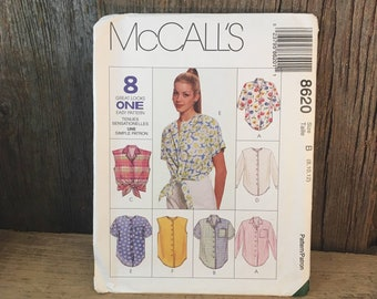 McCalls uncut sewing pattern, uncut McCalls 8620, easy loose fitting shirt pattern, eight great looks one easy pattern 1997 McCalls 8620,