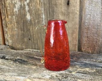 Beautiful burnt orange crackle glass mini pitcher/vase, vintage orange crackle glass decor, 70's hand blown crackle glass pitcher, bud vase