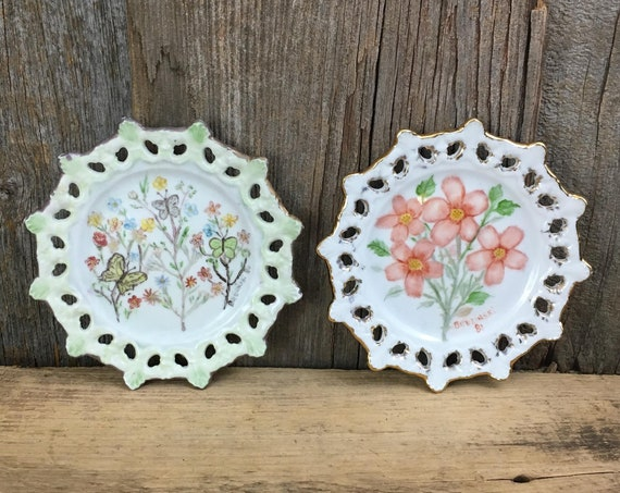Pair of decorative hand painted plates, vintage gold rimmed hand painted floral plates, signed Brezinski 1980's, floral and butterfly plates