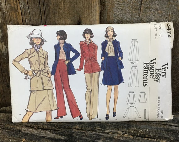 Vintage Very Easy Very Vogue 8474 sewing pattern, safari jacket sewing pattern, Vogue sewing pattern size 10, jacket skirt and pants pattern