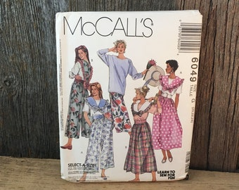 Vintage McCalls pattern 6049 size 20-24 from 1992, split skirt sewing pattern, partially cut sewing pattern, McCalls sewing pattern