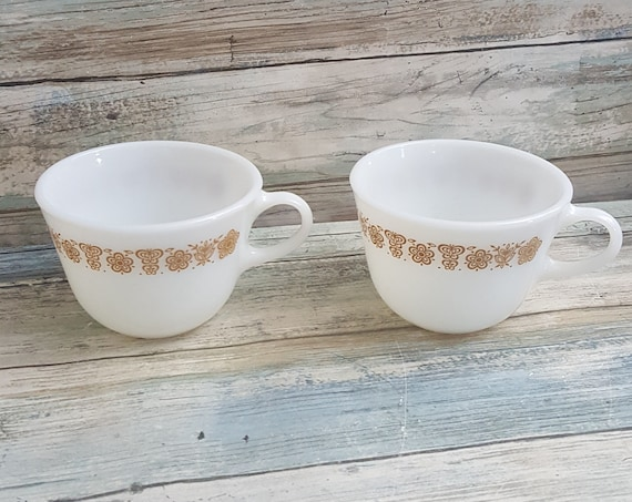 Vintage Pyrex coffee cups, pair of butterfly gold Pyrex coffee cups, milk glass coffee cups, two Pyrex milk glass Butterfly goldcoffee mugs
