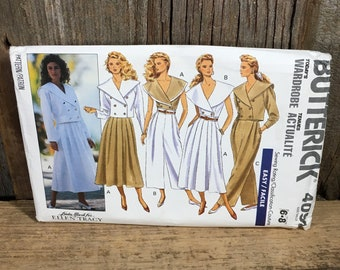 Butterick uncut sewing pattern 4092, vintage Butterick 4092, sewing pattern size 6-8, sewing pattern from 1989, full outfit sewing pattern
