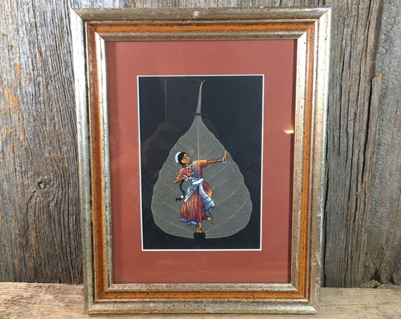 Peepal leaf painted from India, painted fig leaf from India, dancing girl from India painted on sacred fig leaf, framed painted fig leaf