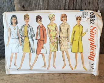 Simplicity 6882 sewing pattern size 14,  1966 Simplicity full outfit sewing pattern, sewing pattern for coat, jacket, overblouse and skirt