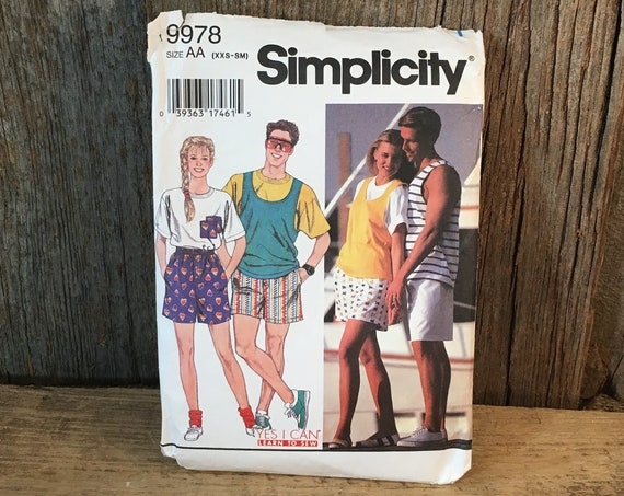 Vintage Simplicity pattern 9978 from 1995, boy and girls shorts and top patter, partially cut sewing pattern, size extra small to small