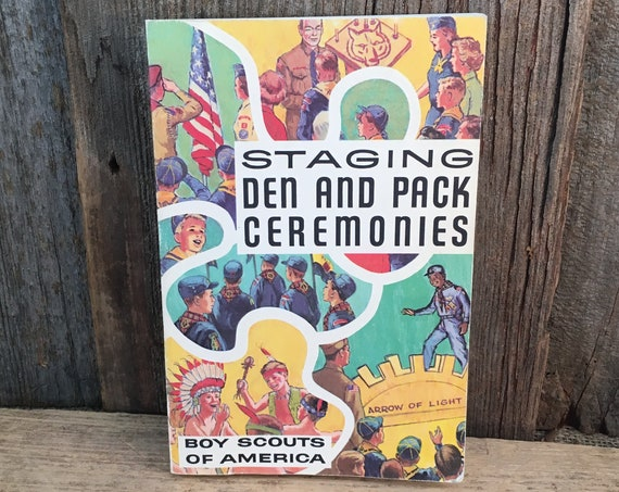 Staging Den and Pack Ceremonies, vintage Boy Scouts of America book, vintage collectors book, 1973 printing of Boy Scouts Book, staging prop