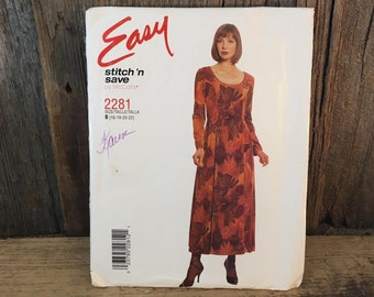 McCalls 2281 stitch n save, uncut easy McCalls pattern, 1999 McCalls dress sewing pattern, vintage sewing pattern,stitch n save easy pattern